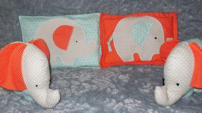 Cadeau naissance original : doudou éléphant et sa bouillotte sèche assortie