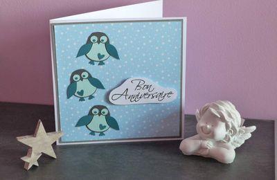 """Carte d'anniversaire """"pingouin"""""""