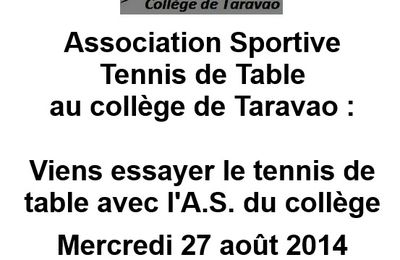 VIENS ESSAYER LE TENNIS DE TABLE