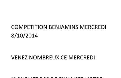 COMPÉTITION BENJAMINS MERCREDI 08/10/2014