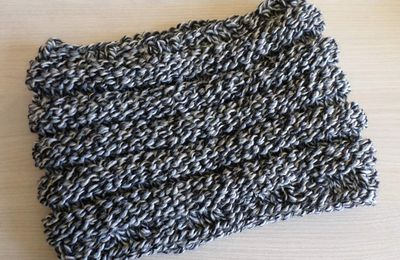snood au point de godron , tuto