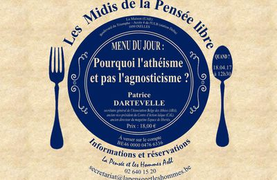 Conférence-repas (18 avril) et Atelier philosophique (26 avril) de « La Pensée et les Hommes » (Bruxelles)