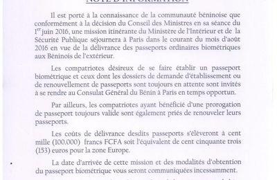 BENIN: délivrance des passeports biométriques au Consulat Général du Benin à Paris !!!