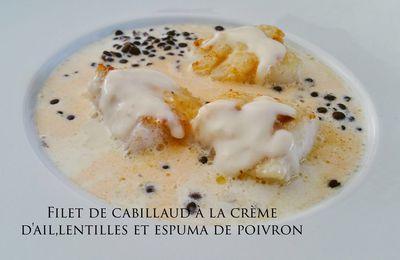 Dos de Cabillaud, lentilles, crème d'ail et émulsion de chorizo