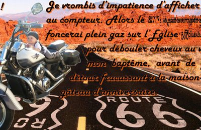 "Invitation 2 ans + baptême Bébé loup : biker ""on the road"""