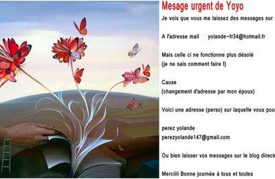 Message important: (pour me joindre)  Yoyo