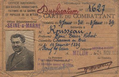 ROUSSEAU René : Carte du Combattant (24/11/1938) à Melun (77)