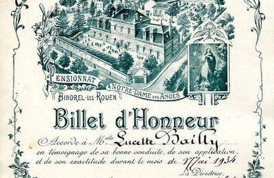 BAILLY Lucette : Billet d'Honneur (1934) à Bihorel-les-Rouen (76)
