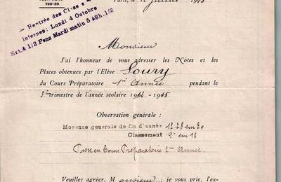SOURY : relevé de notes (12/07/1915) à Paris XV° (75)