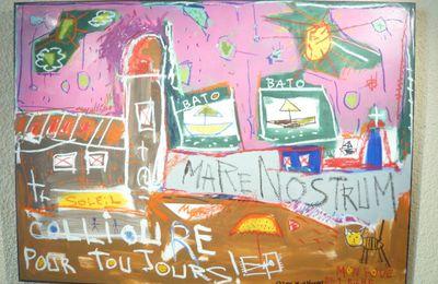 Travail de Louis Aliot, député, 2ème circonscription des Pyrénées-Orientales  -  Cave coopérative Dom Brial à Baixas, rencontre avec Pierre Giresse   - Toroella de MONTGRI, al pati del Museu de la Mediterrània