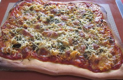 Pizza saumon/champignons aux 2 fromages