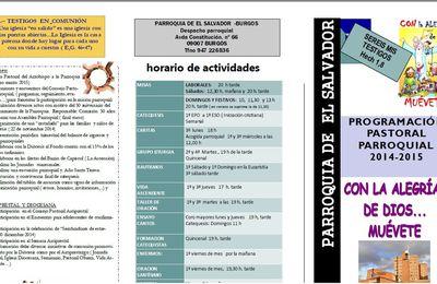 Programación Parroquial Pastoral 2014-2015