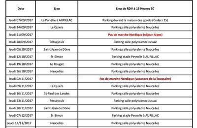 PLANNING DE LA MARCHE NORDIQUE