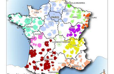 Nouvelles régions françaises : organisation des flux et aires urbaines
