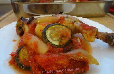 Cuisses poulet et légumes en sauce au four