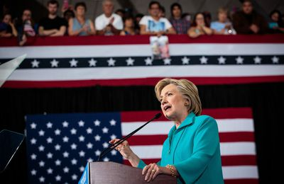 Hillary Clinton at a campaign rally at Truckee Meadows Community College in