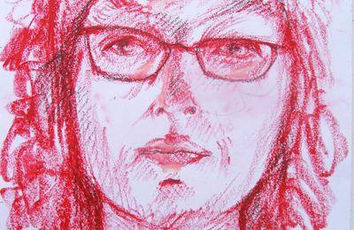 Autoportrait au pastel rouge.