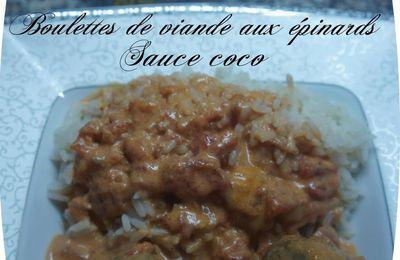 Boulettes de viande aux épinards sauce coco