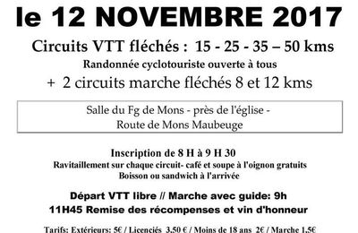 Marche et VTT, le 12 novembre