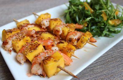 Brochettes de crevettes et mangue