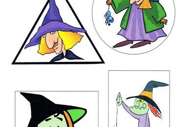 sorcières, puzzles dans des formes géométriques