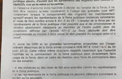 Guerre ethnique, Calais : Circulaire envoyée aux forces de l'ordre le 11 août 2016