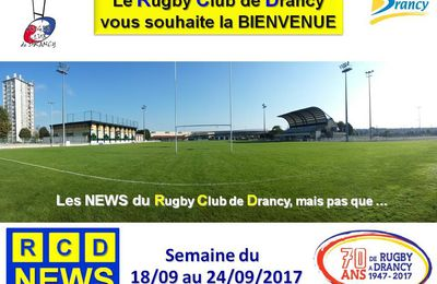 RCD News du RC Drancy  du 18 au 24/09/2017