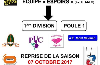 Saison 2017/2018: Calendrier des matches des ESPOIRS