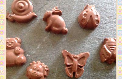Chocolats au lait ptits escargots, papillons