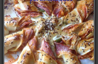Pizza soleil au Mont d'Or, jambon, poivron et ses graines de pain
