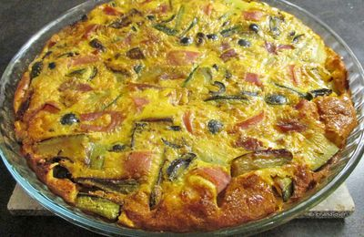 Clafoutis courgettes, jambon, olives