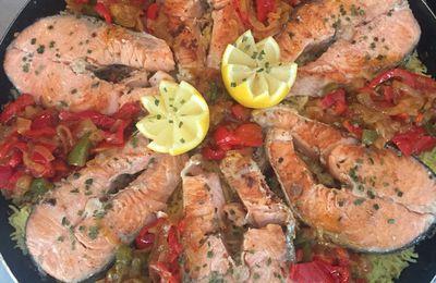 Riz aux poivrons avec saumons