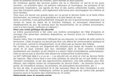 Communiqué de presse de la Cgt, un an après l'attentat de Nice
