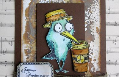 Bird Tim Holtz carte masculine