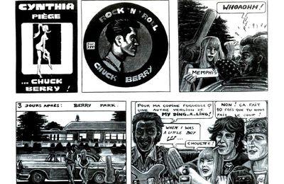 """Hommage à CHUCK BERRY (18 octobre 1926-18 mars 2017) : Série CYNTHIA ROCK (N°18) - Extrait de la BD """"CHUCK BERRY"""" (1996-1997) publiée dans JUKEBOX MAGAZINE N°114 de Mars 1997 (STRIPS 1 & 2 : 1ère demi-planche. Encre de Chine, gouache sur papier en noir & blanc)"""