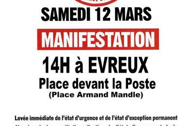 Samedi 12 Mars: Manifestation pour la levée immédiate de l'état d'urgence