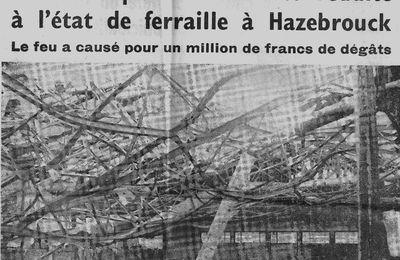 """Immense """"feu de fabrique de moulures en bois""""  Rétrodécalage de 50 ans - 16 août 1965 -"""