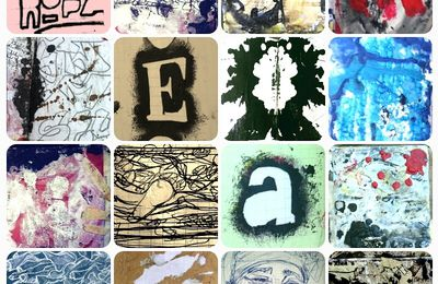 Mosaic of stencils, sketches, collages and traces