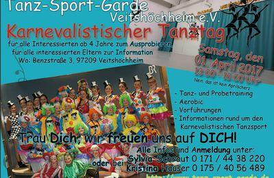 Veitshöchheimer Tanzsportgarde lädt am 1. April 2017 zum karnevalistischen Schnupper-Tanztag ein
