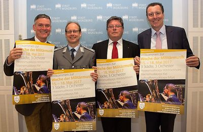 Veitshöchheim, Volkach und Würzburg sind vom 15. bis 18. Mai 2017 Gastgeber der Woche der Militärmusik