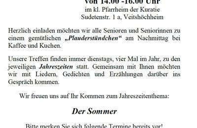 Einladung von Senioren zum Plauderstündchen im Kuratie-Pfarrheim am 25. Juni 2019