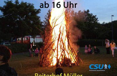 CSU-Ortsverband lädt am Samstag, 29. Juni, ab 16 Uhr zum Johannisfeuer mit Leckereien, Hüpfburg und Ponyreiten ein