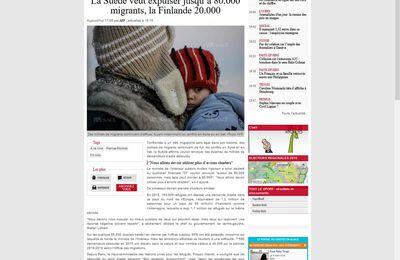 La Suède veut expulser jusqu'à 80.000 migrants, la Finlande 20.000