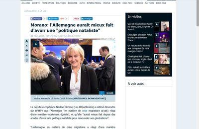 """Migrants: l'Allemagne aurait mieux fait d'avoir une """"politique nataliste"""" (Nadine Morano)"""