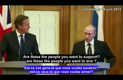 """Vladimir Poutine à Cameron sur la Syrie: """"Est-ce le genre de gens que vous voulez soutenir et armer?"""""""