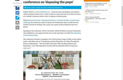 Déposition du pape : Colloque international à Paris le 30 et 31 mars 2017