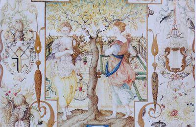 Le Hibou au caducée de Joris Hoefnagel pour une allégorie de la Paix : L' Allégorie aux deux Nymphes avec les vues de Munich et de Landshut (1579) .