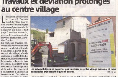 PROLONGATION DES TRAVAUX AU CENTRE VILLAGE JUSQU'AU 15 MARS