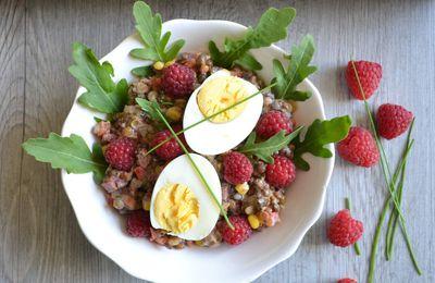Salade de lentilles 3 couleurs aux légumes et framboises