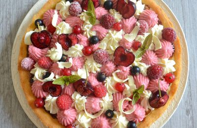 "Tarte fruits rouges-chocolat blanc sur palet breton (inspiration ""Fantastik"" de Christophe Michalak"